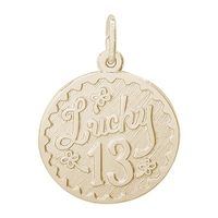 Rembrandt Lucky 13 Charm, Gold Plated Silver