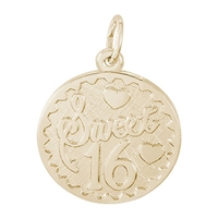Rembrandt Sweet 16 Charm, Gold Plated Silver