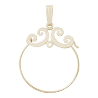 Rembrandt Scroll Design Charm Holder, 14K Yellow Gold