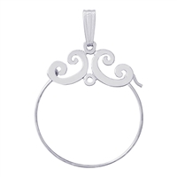 Rembrandt Scroll Design Charm Holder, 14K White Gold