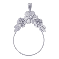 Rembrandt Flower Design Charm Holder, Sterling Silver