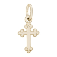 Rembrandt Cross Charm, Gold Plated Silver