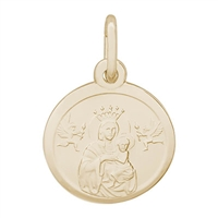 Rembrandt Madonna and Child Charm, Gold Plated Silver