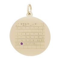 Rembrandt Calendar Charm, Gold Plated Silver