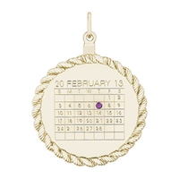 Rembrandt 8339-Calendar Charm, Gold Plated Silver