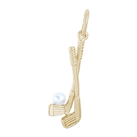 Rembrandt Golf Clubs Charm, Gold Plated Silver