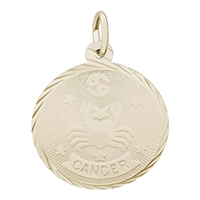 Rembrandt Cancer Charm, Gold Plated Silver