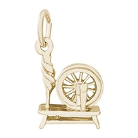Rembrandt Colonial Inspired Spinning Wheel Charm, Gold Plated Silver