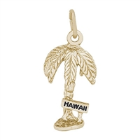 Rembrandt Hawaii Palm Charm, Gold Plated Silver