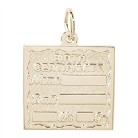 Rembrandt Birth Certificate Charm, Gold Plated Silver