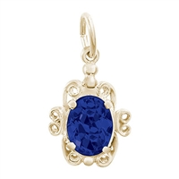 Rembrandt September Birthstone Charm, 10K Yellow Gold