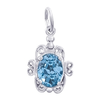Rembrandt December Birthstone Charm, 14K White Gold