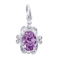 Rembrandt February Birthstone Charm, 14K White Gold