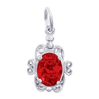 Rembrandt July Birthstone Charm, 14K White Gold