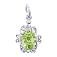 Rembrandt August Birthstone Charm, 14K White Gold