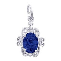 Rembrandt September Birthstone Charm, 14K White Gold