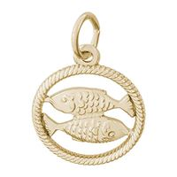 Rembrandt Pisces Charm, Gold Plated Silver