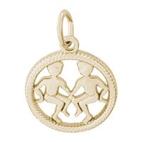 Rembrandt Gemini Charm, Gold Plated Silver