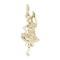 Rembrandt Highland Dancer Charm, Gold Plated Silver