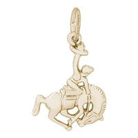 Rembrandt Horse and Cowboy Charm, Gold Plated Silver
