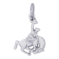 Rembrandt Horse and Cowboy Charm, 14K White Gold