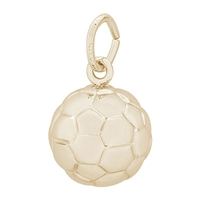 Rembrandt Soccer Ball Charm, Gold Plated Silver