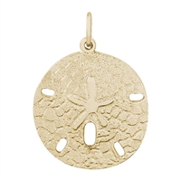 Rembrandt Large Sand Dollar Charm, Gold Plated Silver