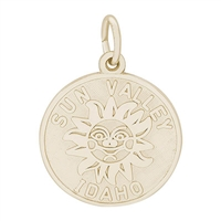 Rembrandt Sun Valley, Idaho Charm, Gold Plated Silver