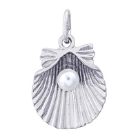 Rembrandt Shell With Pearl Charm, Sterling Silver