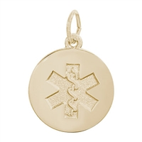Rembrandt Medical Symbol Charm, Gold Plated Silver