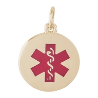 Rembrandt Medical Symbol-Red Paint Charm, Yellow Gold Plated
