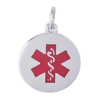 Rembrandt Medical Symbol-Red Paint Charm, Sterling Silver