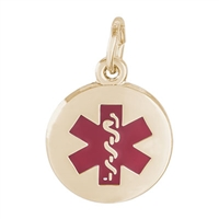 Rembrandt Medical Symbol-Red Paint Charm, Gold Plated Silver