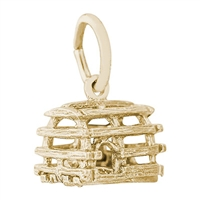 Rembrandt Lobster Trap Charm, Gold Plated Silver