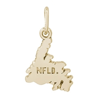 Rembrandt Newfoundland Map Charm, Gold Plated Silver