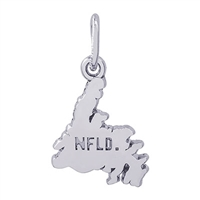 Rembrandt Newfoundland Map Charm, Sterling Silver