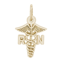 Rembrandt RN Caduceus Charm, Gold Plated Silver