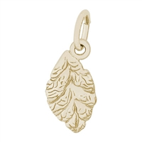 Rembrandt Tobacco Leaf Charm, Gold Plated Silver