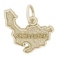 Rembrandt St Maarten Map w/ Border Charm, Gold Plated Silver