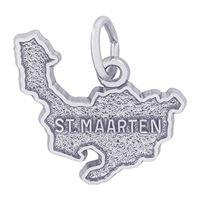 Rembrandt St Maarten Map w/ Border Charm, Sterling Silver