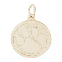 Rembrandt Paw Print Charm, Gold Plated Silver