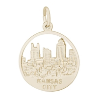 Rembrandt Kansas City Skyline Charm, Gold Plated Silver