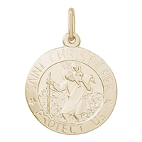 Rembrandt ST. Christopher Charm, Gold Plated Silver