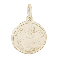 Rembrandt St. Jude Charm, Gold Plated Silver