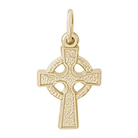 Rembrandt Celtic Cross Charm, Gold Plated Silver