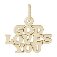 Rembrandt God Loves You Charm, Gold Plated Silver