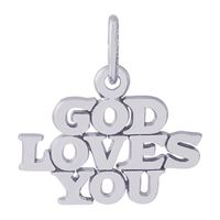 Rembrandt God Loves You Charm, Sterling Silver