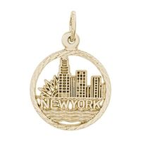 Rembrandt New York Skyline Charm, Gold Plated Silver