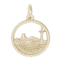 Rembrandt Seattle Skyline Charm, Gold Plated Silver