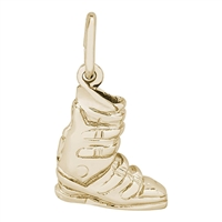 Rembrandt Ski Boot Charm, Gold Plated Silver